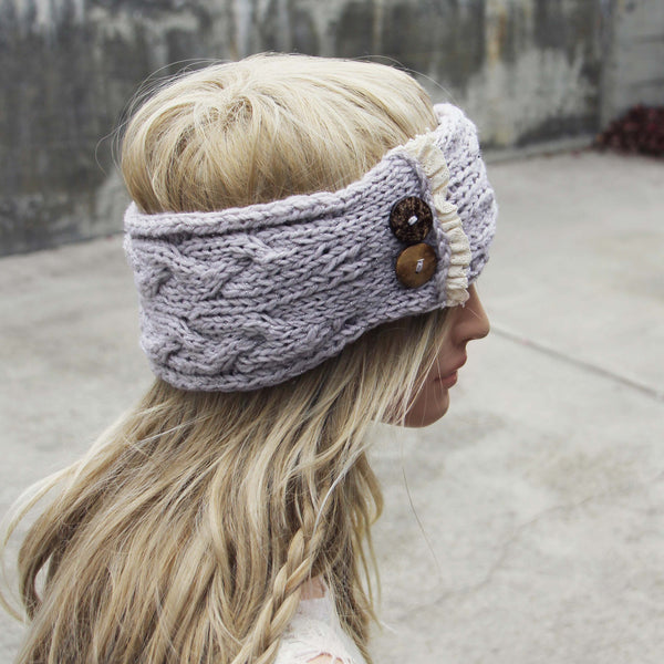 Lace & Knit Headwrap in Gray: Featured Product Image