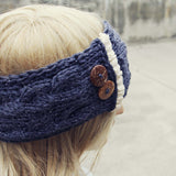 Lace & Knit Headwrap in Charcoal: Alternate View #2