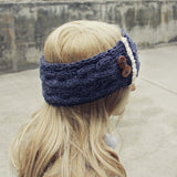 Lace & Knit Headwrap in Charcoal: Alternate View #1