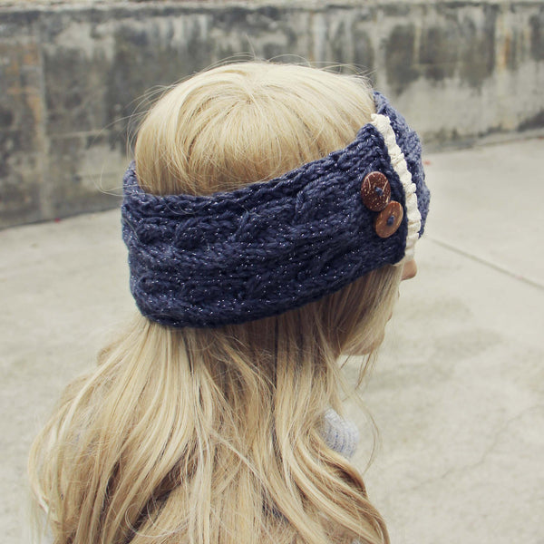 Lace & Knit Headwrap in Charcoal: Featured Product Image