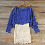 Lace and Quartz Dress in Lapis: Alternate View #4