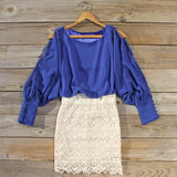 Lace and Quartz Dress in Lapis: Alternate View #1