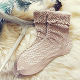 Lace & Snow Socks in Coco: Alternate View #1