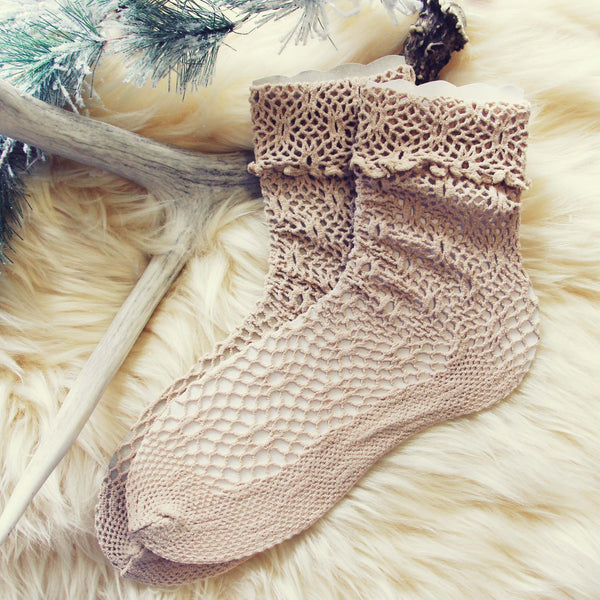 Lace & Snow Socks in Coco: Featured Product Image