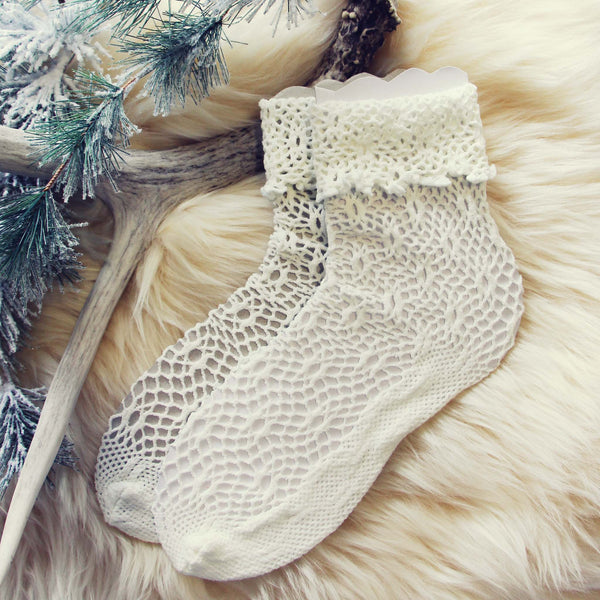 Lace & Snow Socks in Winter: Featured Product Image