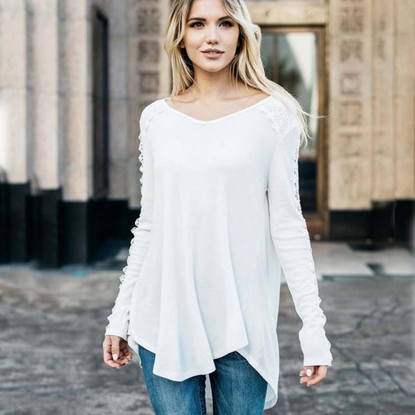 Lace Trim Thermal Tee: Featured Product Image