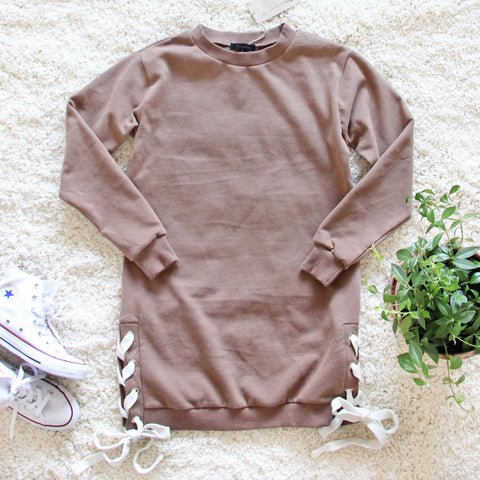 The Lace-up Sweatshirt Dress in Timber