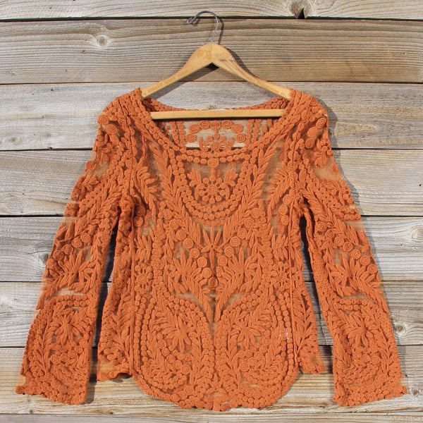 Laced in Snow Blouse in Rust: Featured Product Image