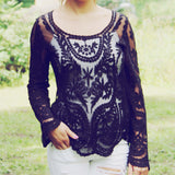 Laced in Snow Blouse in Black (wholesale): Alternate View #6