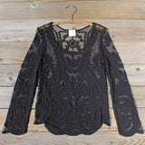 Laced in Snow Blouse in Black (wholesale): Alternate View #3