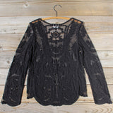 Laced in Snow Blouse in Black (wholesale): Alternate View #5
