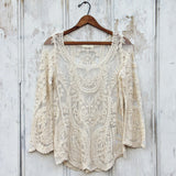 Laced in Snow Blouse in Cream: Alternate View #1