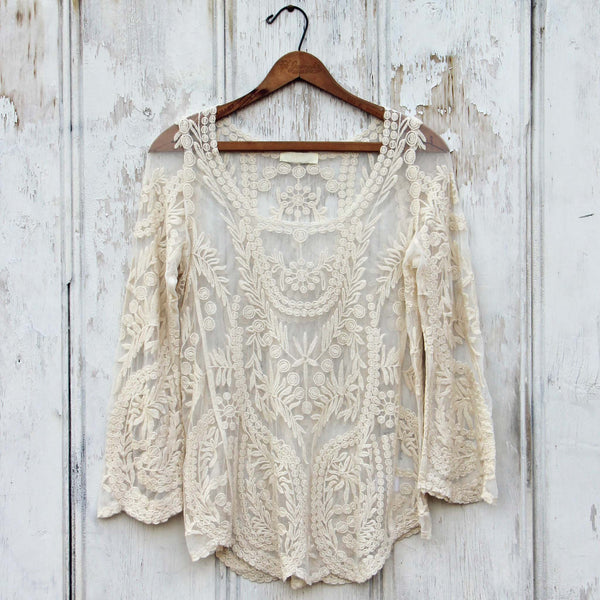 Laced in Snow Blouse in Cream: Featured Product Image