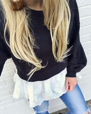 Laced Sweatshirt in Charcoal