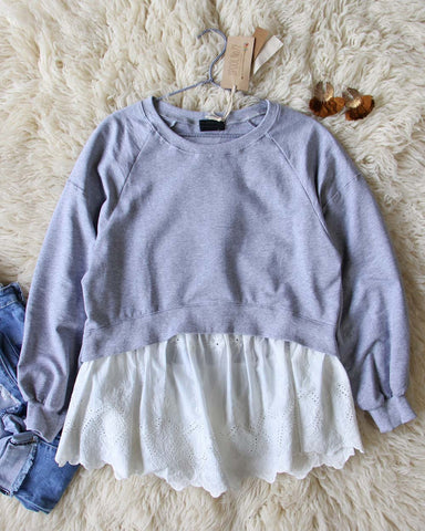 Laced Sweatshirt in Heather Gray