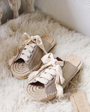 Laced Espadrilles in Sand: Alternate View #4