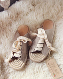 Laced Espadrilles in Sand: Alternate View #1