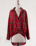 Laid-Back Plaid Top in Red: Alternate View #2