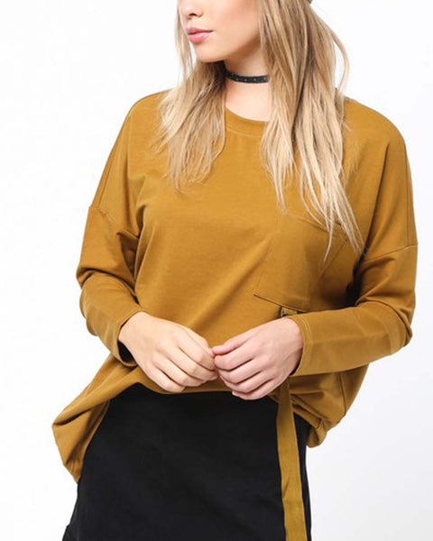 Easy Tie Tee in Camel: Featured Product Image