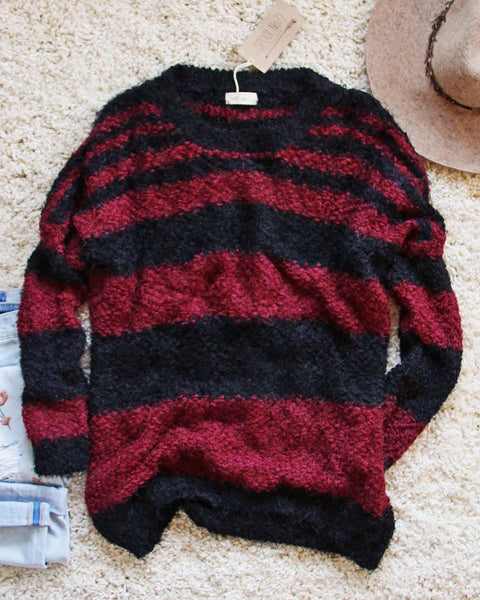 Layla Cozy Stripe Sweater in Wine: Featured Product Image