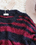 Layla Cozy Stripe Sweater in Wine: Alternate View #3