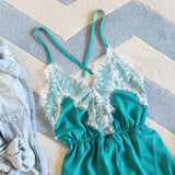 Le Fleur Lace Romper in Azure: Alternate View #2