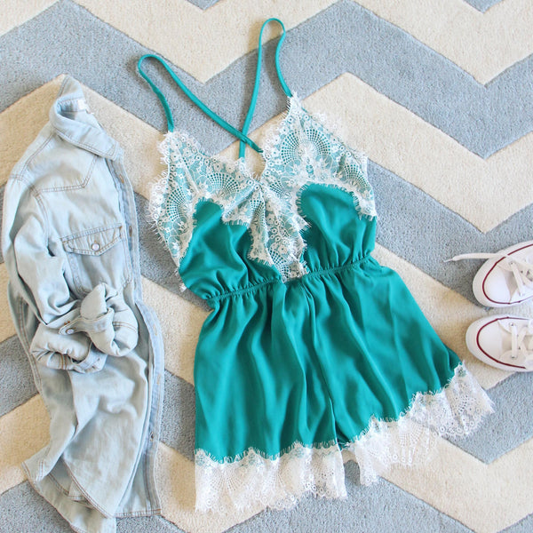Le Fleur Lace Romper in Azure: Featured Product Image
