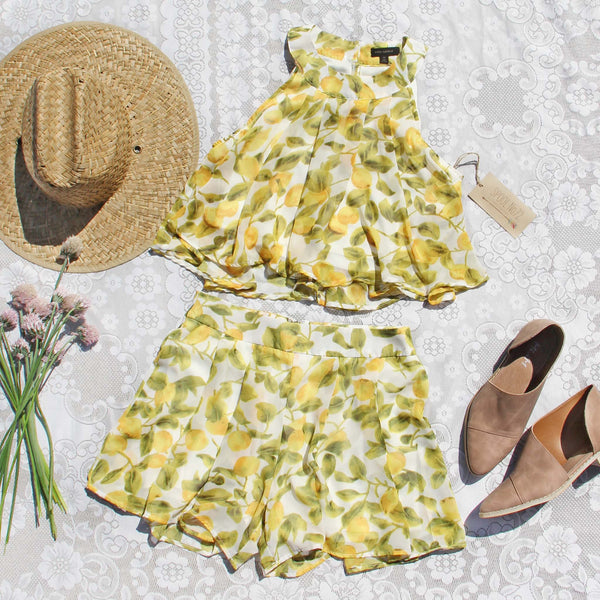 Lemon Lover Top & Shorts Set: Featured Product Image
