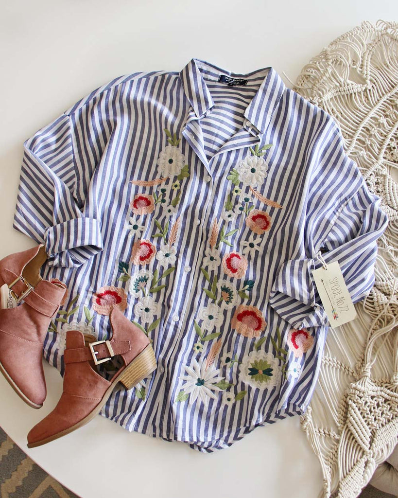 0a03c59efb263 Lila Boyfriend Shirt, Fall Embroidered Tops from Spool No.72 ...