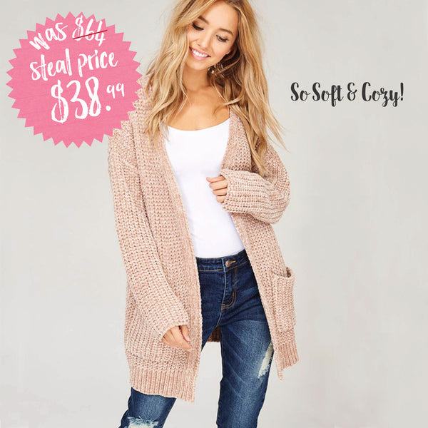Softest Chenille Sweater in Taupe: Featured Product Image