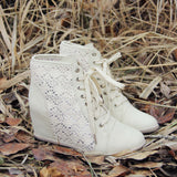 Meadow Lace Booties in Cream: Alternate View #1