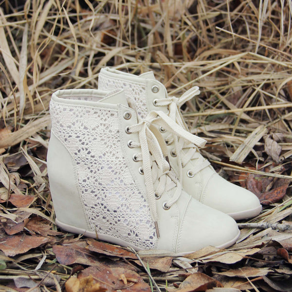 Meadow Lace Booties in Cream: Featured Product Image