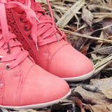 Meadow Lace Booties in Rose: Alternate View #2