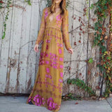 The Medallion Maxi Dress in Mustard (wholesale): Alternate View #1
