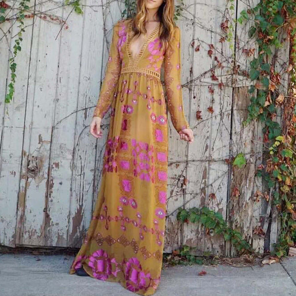 The Medallion Maxi Dress in Mustard: Featured Product Image