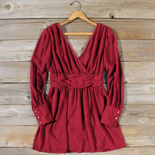 Midnight Sage Dress in Burgundy: Featured Product Image