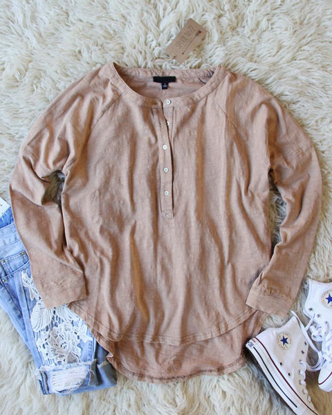 Mineral Wash Henley in Taupe: Featured Product Image