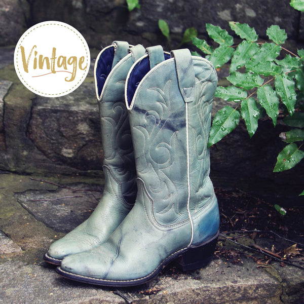 Misty Morning Vintage Cowboy Boots: Featured Product Image