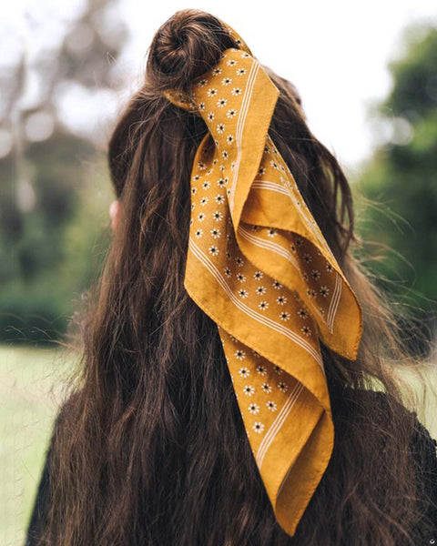 Moon Flower Bandanna in Mustard: Featured Product Image