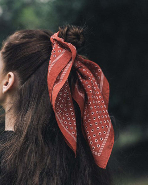 Moon Flower Bandanna in Rust: Featured Product Image