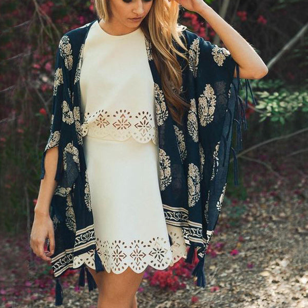 Moon Palace Fringe Duster in Navy: Featured Product Image