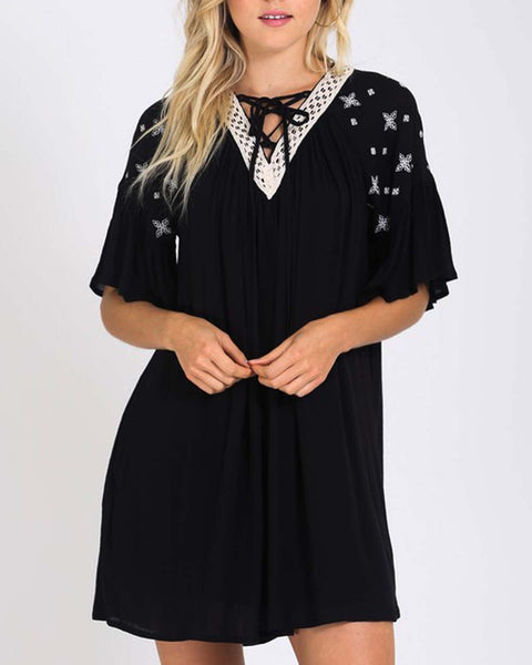 Moon & Stars Dress in Black: Featured Product Image