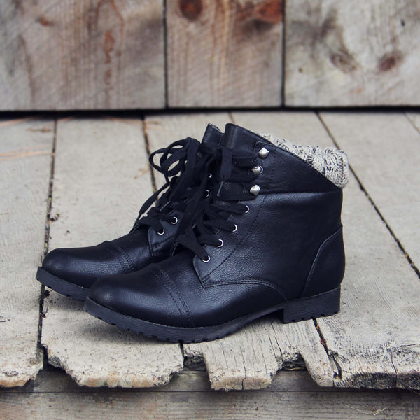 The Mountaineer Sweater Boots in Black: Featured Product Image