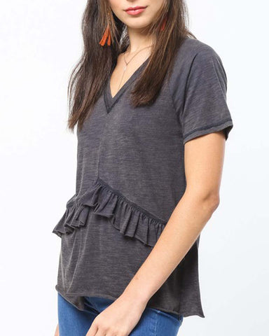 Must Have Ruffle Tee in Navy
