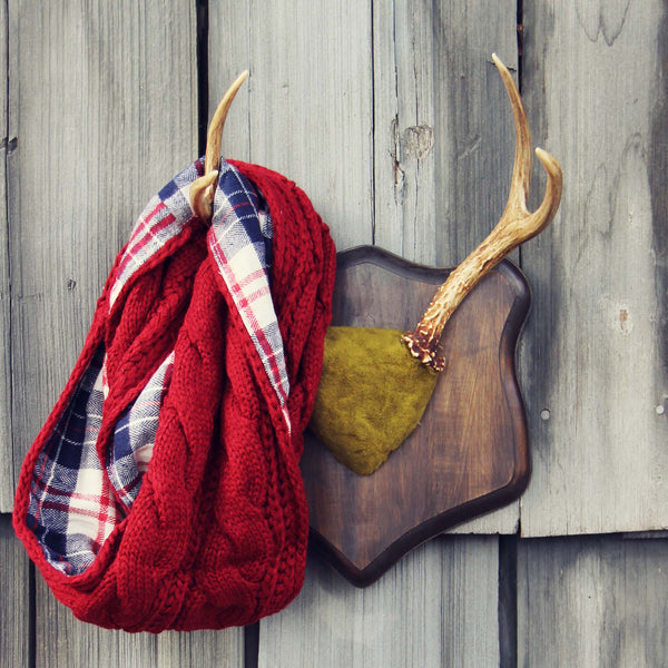 Knit & Plaid Scarf in Burgundy: Featured Product Image