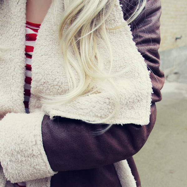 Night Flurries Sherpa Coat in Timber: Featured Product Image