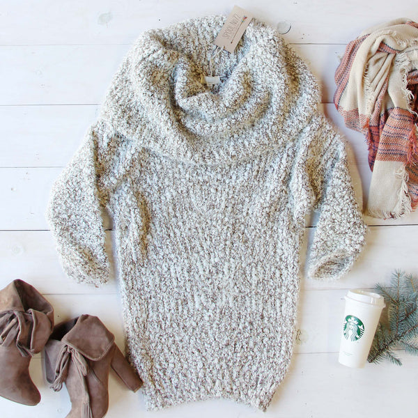 The Nubby Knit Sweater Dress in Taupe: Featured Product Image