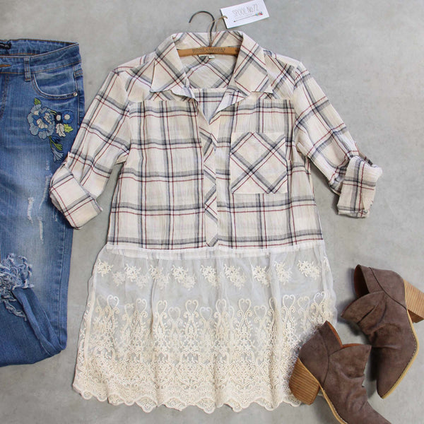 Plaid + Lace Top: Featured Product Image