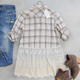 Plaid + Lace Top: Alternate View #4