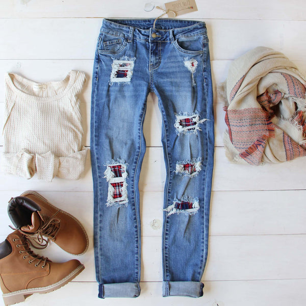 Plaid Patch Skinny Jeans: Featured Product Image